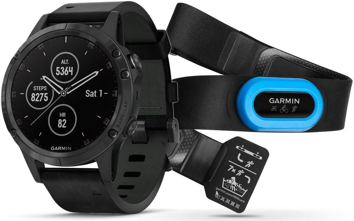 Hodinky Garmin Garmin fenix5 Plus Sapphire Black, Black Band, Performer TRI Bundle